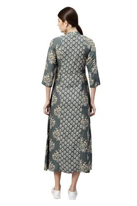 Womens Band Collar Printed Calf Length Dress