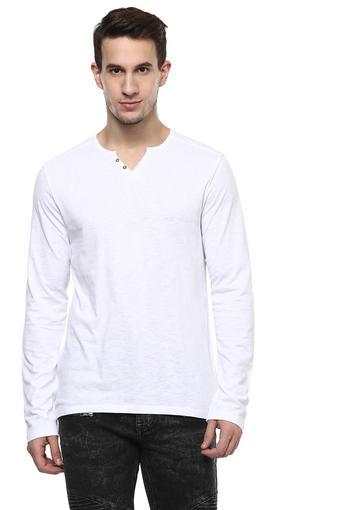 Mens Regular Fit Mandarin Neck Slub T-Shirt