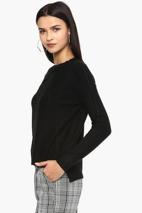 Womens Round Neck Knitted Pattern Sweater