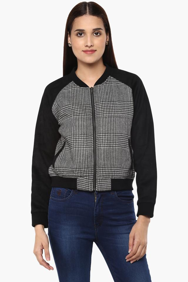 Womens Zip Through Neck Printed Bomber Jacket