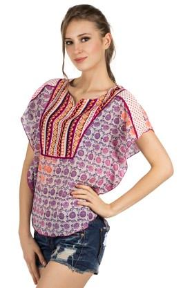 Womens Notched Neck Printed Top