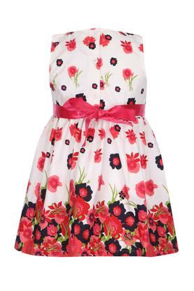 Girls Round Neck Floral Printed Flared Dress