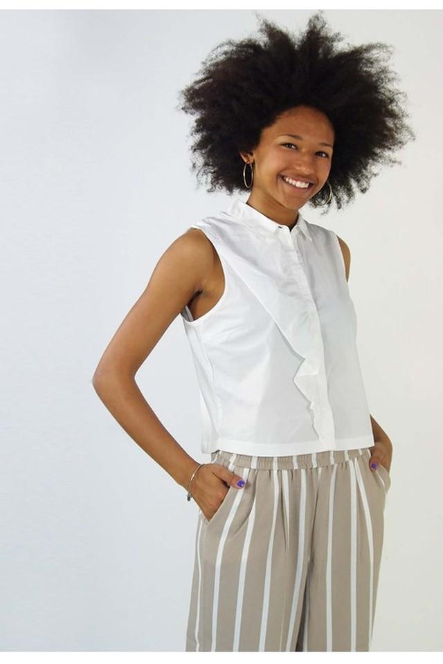 Women Collared Solid Top