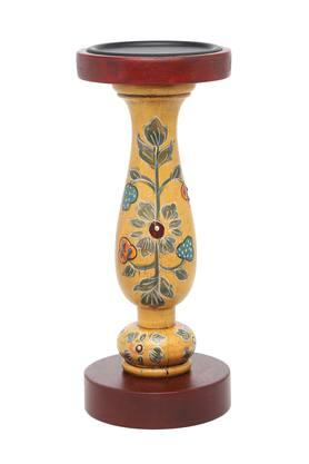 Tuhin Printed Wooden Finish Candle Holder