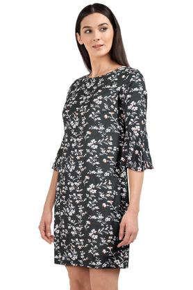 Womens Round Neck Floral Print Shift Dress
