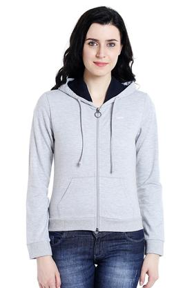109F Womens Zip Through Slub Sweatshirt