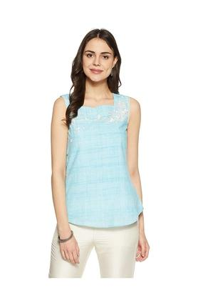 Womens Square Neck Printed Embroidered Top