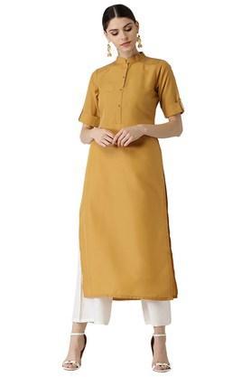 Womens Cotton Solid Kurta
