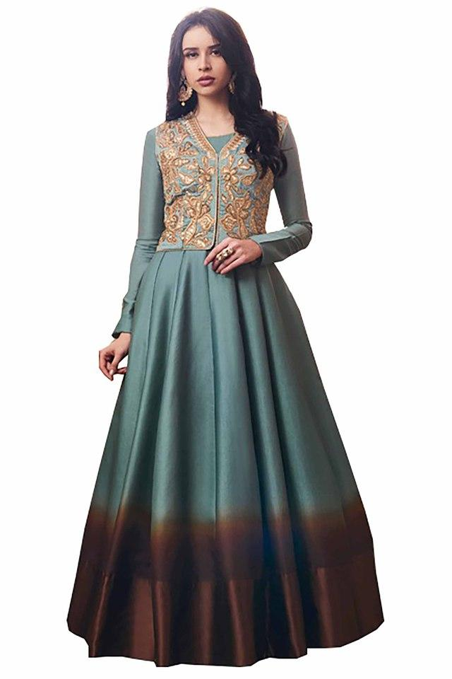 Womens Tussar Silk Designer Unstitched Anarkali Dress Material