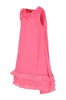 Girls Round Neck Solid Asymmetrical Dress