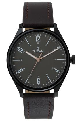 Mens Brown Dial Leather Analogue Watch - 1802NL01