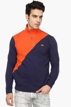 LEE Mens Zip Through Neck Colour Block Sweatshirt