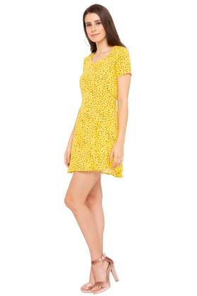 Womens Semi-Square Neck Printed A-Line Dress