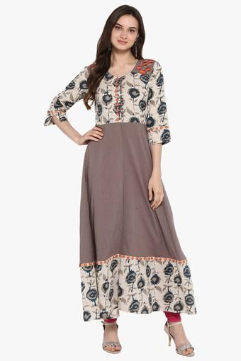 Womens Rama Embroidered Long Kurta with Piping Detailing