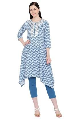 Womens Notched Neck Embroidered Asymmetrical Kurta