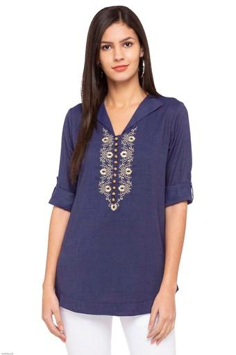 Womens V-Neck Embroidered Kurti