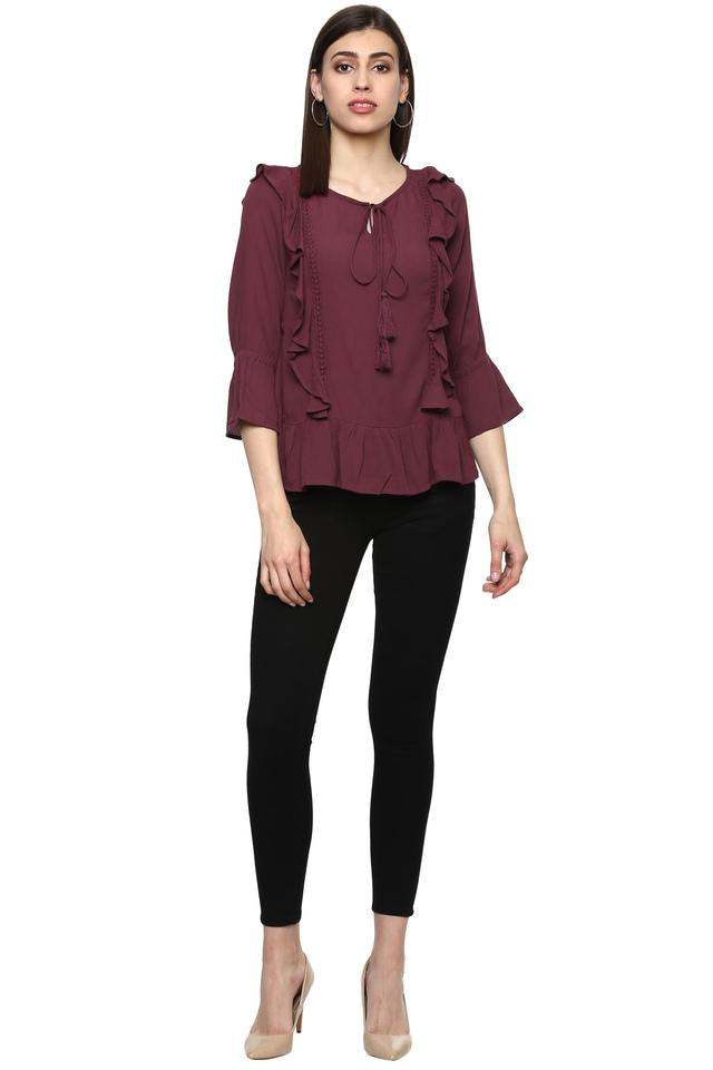 Womens Tie Up Neck Solid Ruffled Top