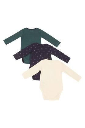 Kids Round Neck Printed and Slub Bodysuit - Pack Of 3