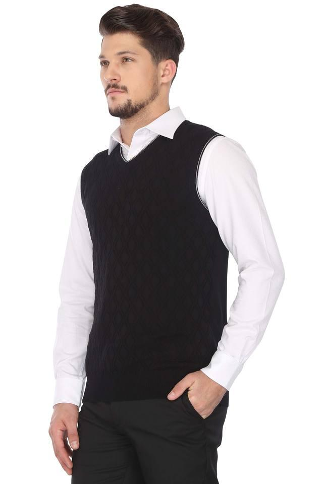 Mens V Neck Self Pattern Sweater