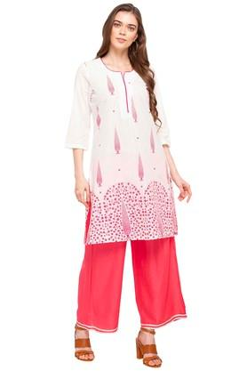 Womens Notched Neck Floral Print Kurta