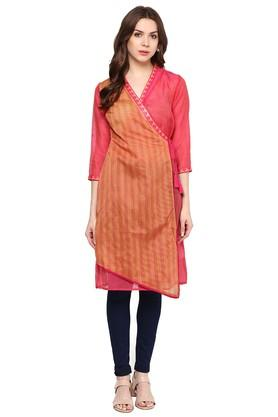 FUSION BEATS Womens Slim Fit Stripe Kurta