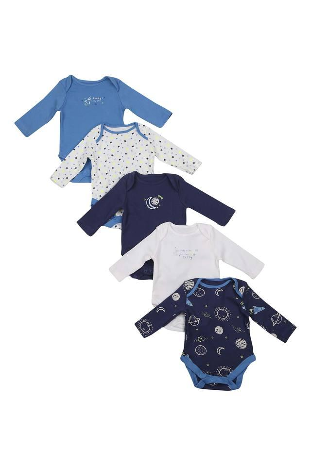 Boys Round Neck Printed Babysuit - Pack of 5