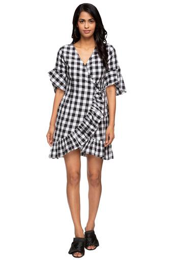 Womens Surplice Neck Check Wrap Dress