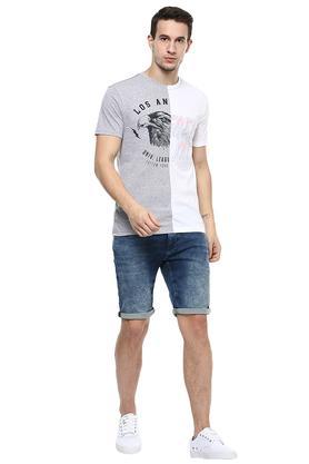 Mens 5 Pockets Mild Wash Shorts