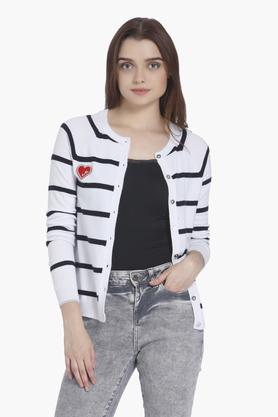 VERO MODA Womens Round Neck Striped Cardigans