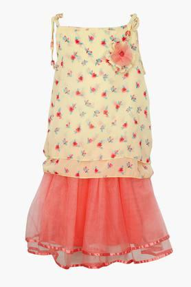 Girls Square Neck Printed Top and Skirt Set