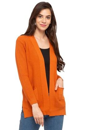 GIPSY Womens Open Front Solid Cardigan - 204773449_9508