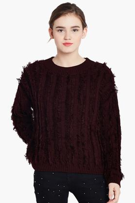 COVER STORY Womens Round Neck Knitted Pattern Sweater