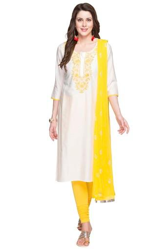 STOP -  White Salwar & Churidar Suits - Main