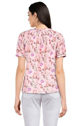 Womens Band Collar Printed Top
