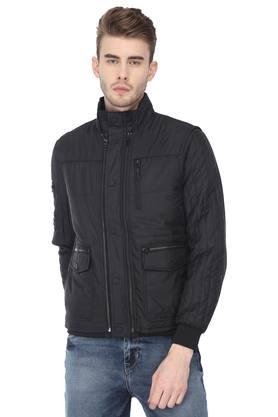 Mens High Neck Solid Jacket