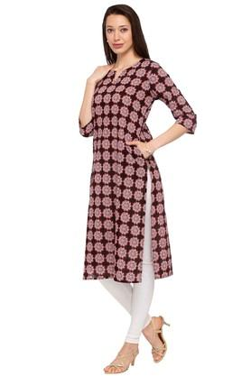 Womens Notched Neck Printed Kurta