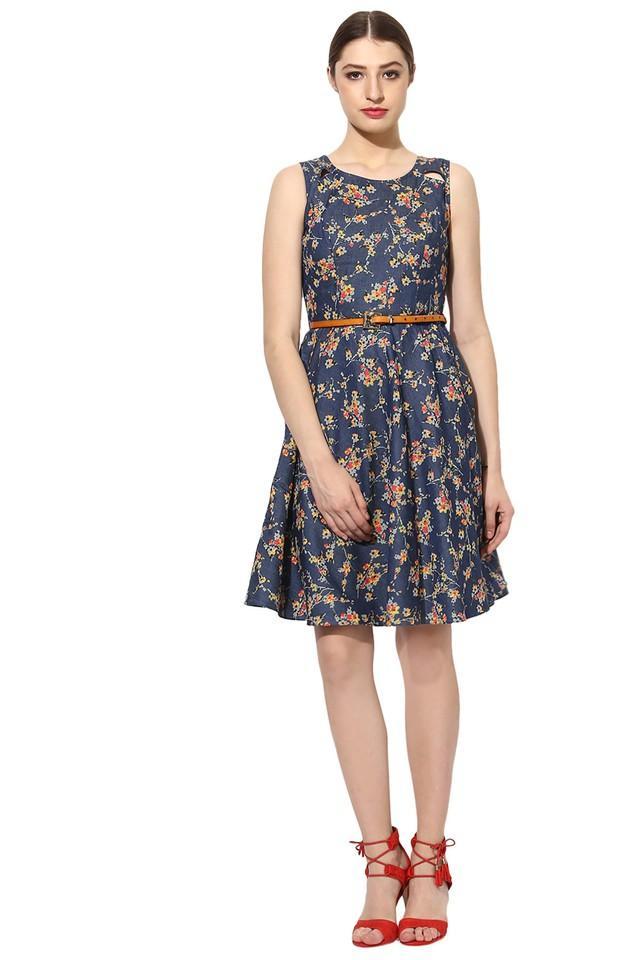 Womens Round Neck Printed Flared Dress