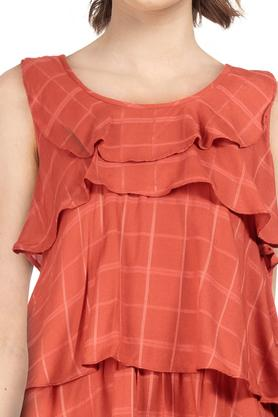 Womens Round Neck Checked Top