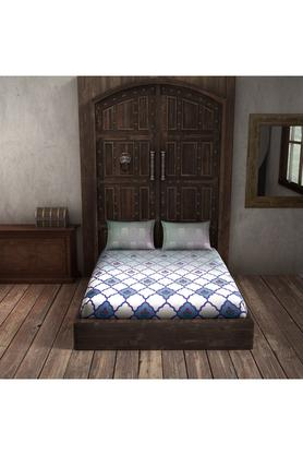 SPACESCotton Printed Double Bedsheet With 2 Pillow Covers - 203257483_9900