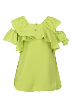 Girls Square Neck Solid Top