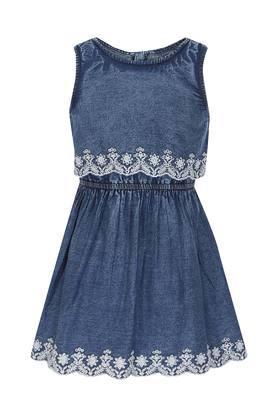 Girls Round Neck Solid A-Line Dress