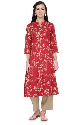 VARANGA Women Printed A Line Front Open Kurta With Pant