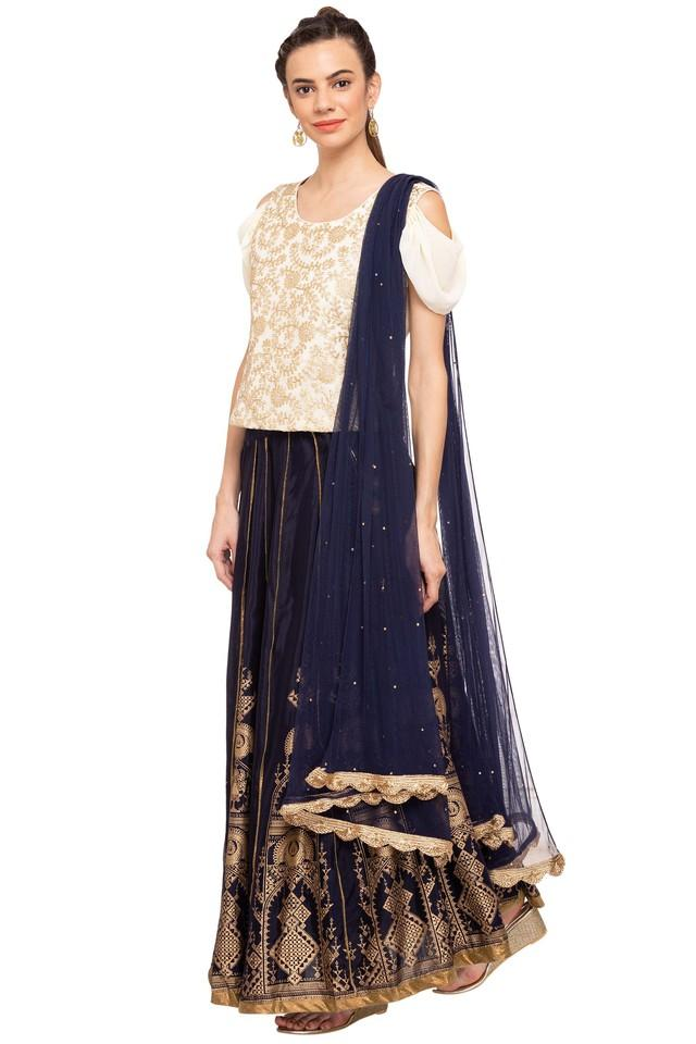 Womens Round Neck Embroidered Ghaghra Choli Dupatta Set