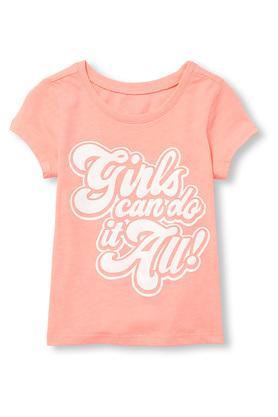 Girls Round Neck Graphic Print Tee