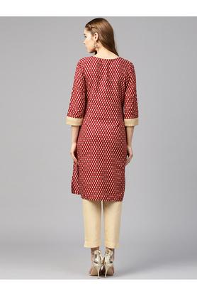 Womens Notched Collar Paisley Kurta