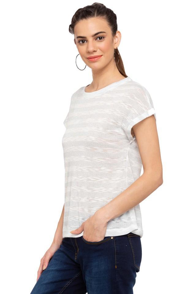 Womens Round Neck Knitted Pattern T-Shirt