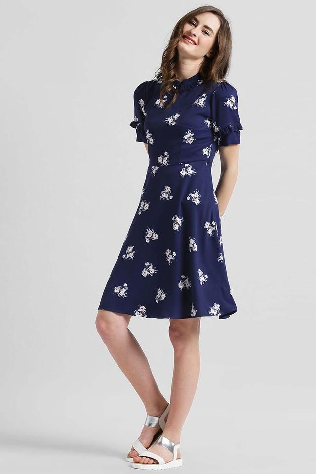 Womens Collared Printed Skater Dress