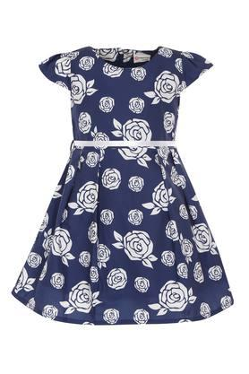 Girls Floral Print Flared Dress With Belt