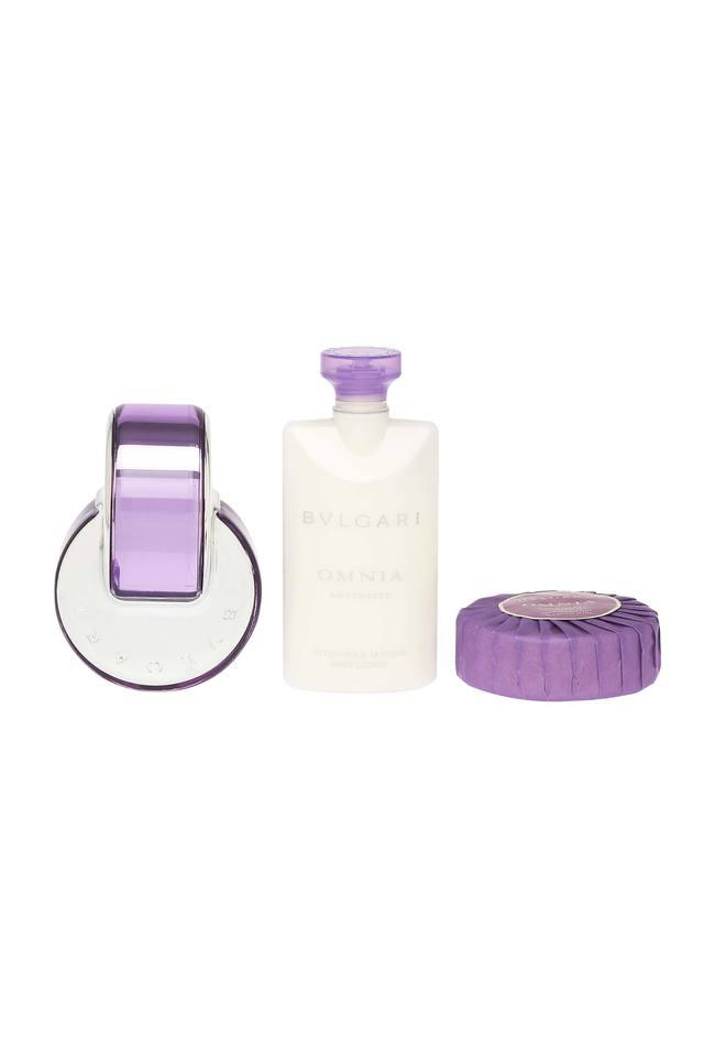 Womens Omnia Amethyste Beauty EDT + Lotion and Scented Soap with Pouch
