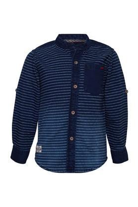 Boys Regular Fit Mandarin Neck Stripe Shirt